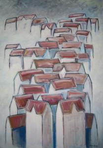 """Vinterby"" akryl på lerret 100 x 60 cm"