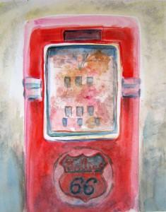 """Phillips 66"", akvarell 48 x 36 cm. Serie ""American Memorials"""