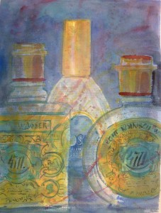 """4711 4711 Tosca"", akvarell 45 x 34 cm. Serie Budoar"
