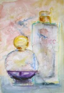 """""""En skvett lavendel"""", akvarell 47 x 33 cm. Serie """"Budoar"""""""
