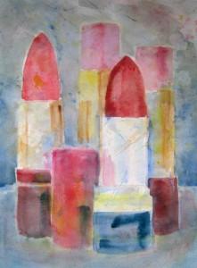 """""""Gruppebilde"""", akvarell 47 x 33 cm. Serie """"Budoar"""""""