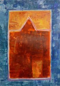 """""""Rødt"""", akryl på papir, 28 x 20 cm"""