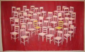 """""""Rødt stolbilde"""", akryl på fritt lerret 245 x 150 cm"""