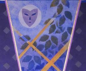 1986 Vimpel med masker og ruter detalj